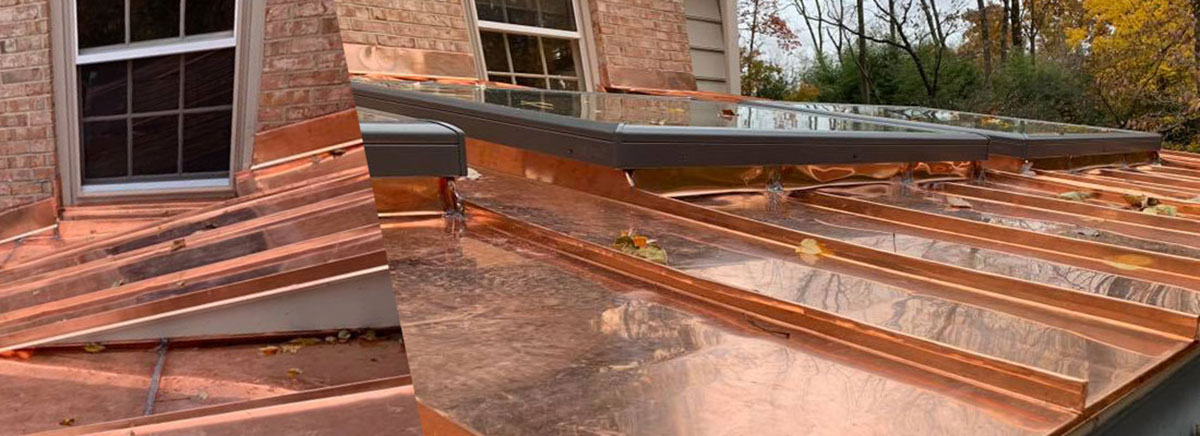 Copper low slope roof