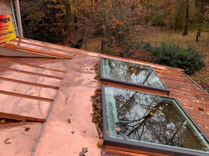 Copper roof with skylights
