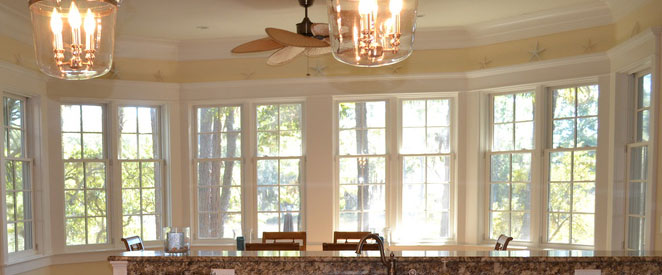 Dining room with double-hang windows