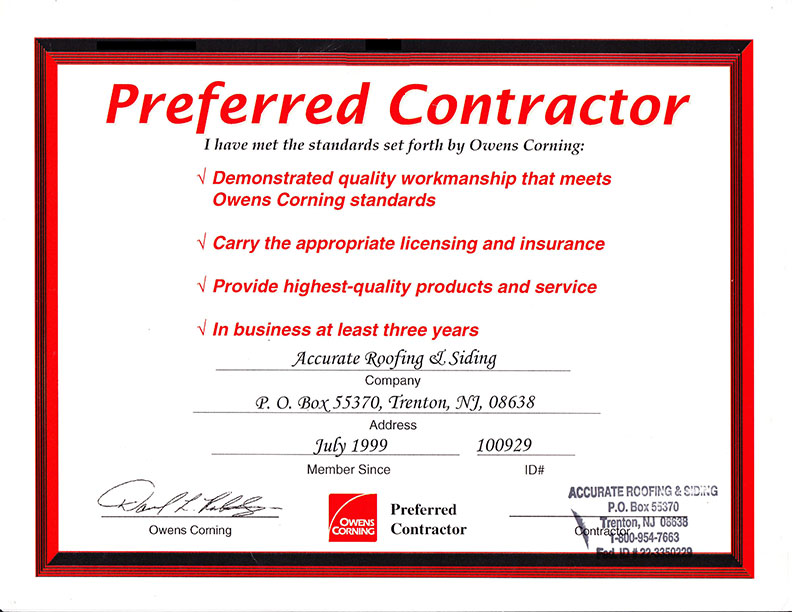 Accurate Roofing Amp Siding Certifications And Awards